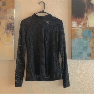 Mock neck sheer lace top